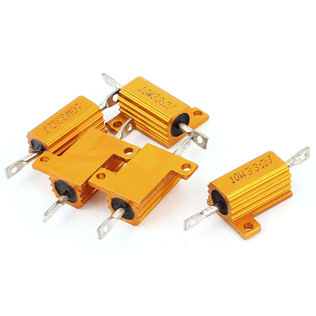 5 Pcs 33 Ohm 10W Aluminium Housing Chassis Mount Wirewound Power Resistors Gold Tone