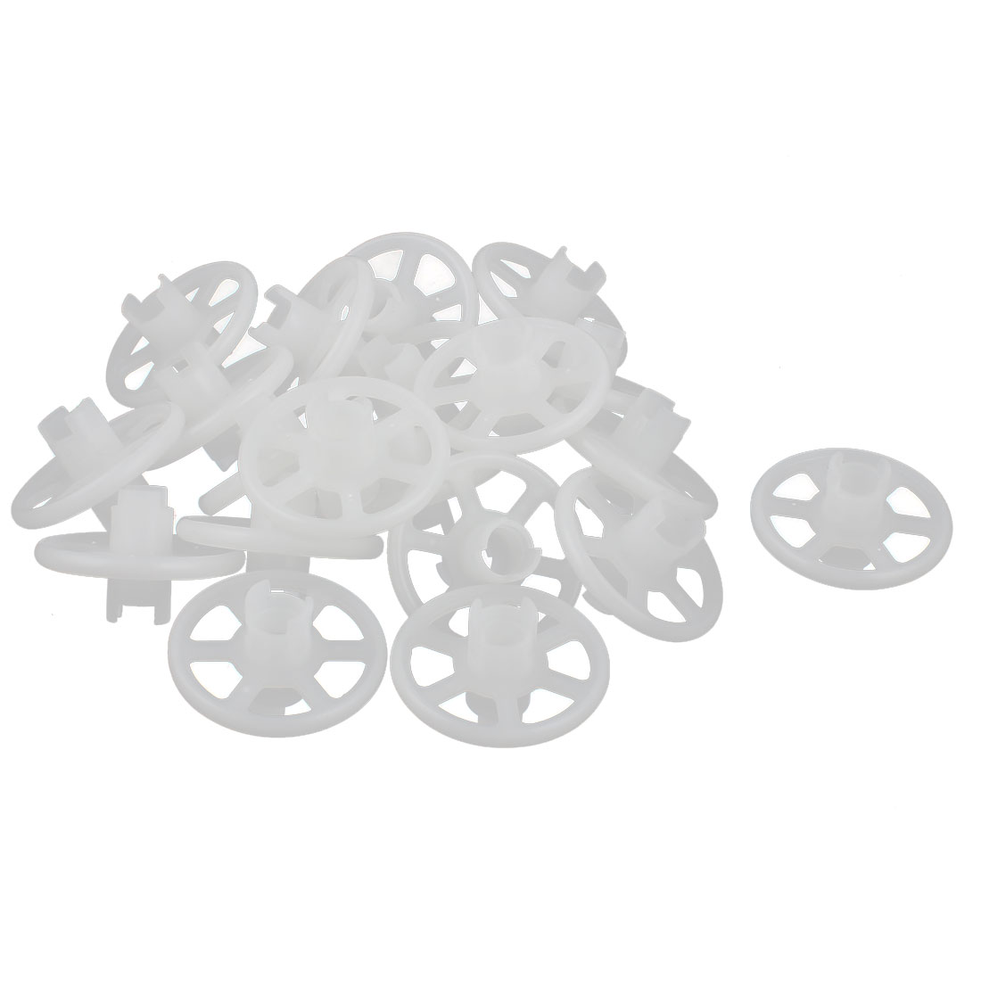 Replacement 9.5mm x 43mm x 28mm PCB Rubber Coating PP Wheels 20 Pcs