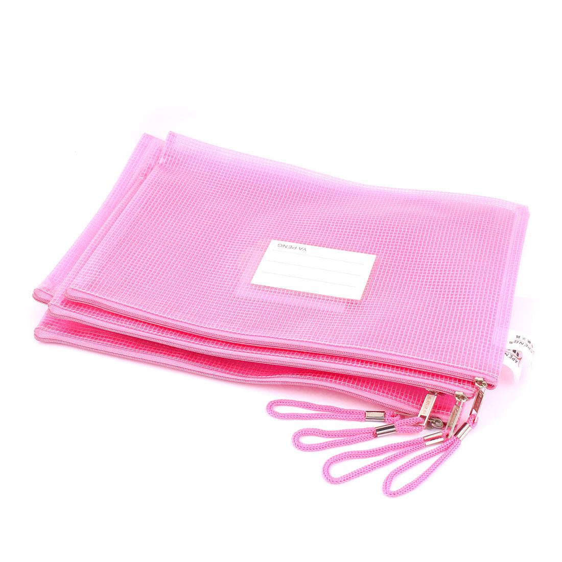 4 Pcs Office School Zipper Closure Plastic B5 File Testing Paper Storage Mesh Bag Pink
