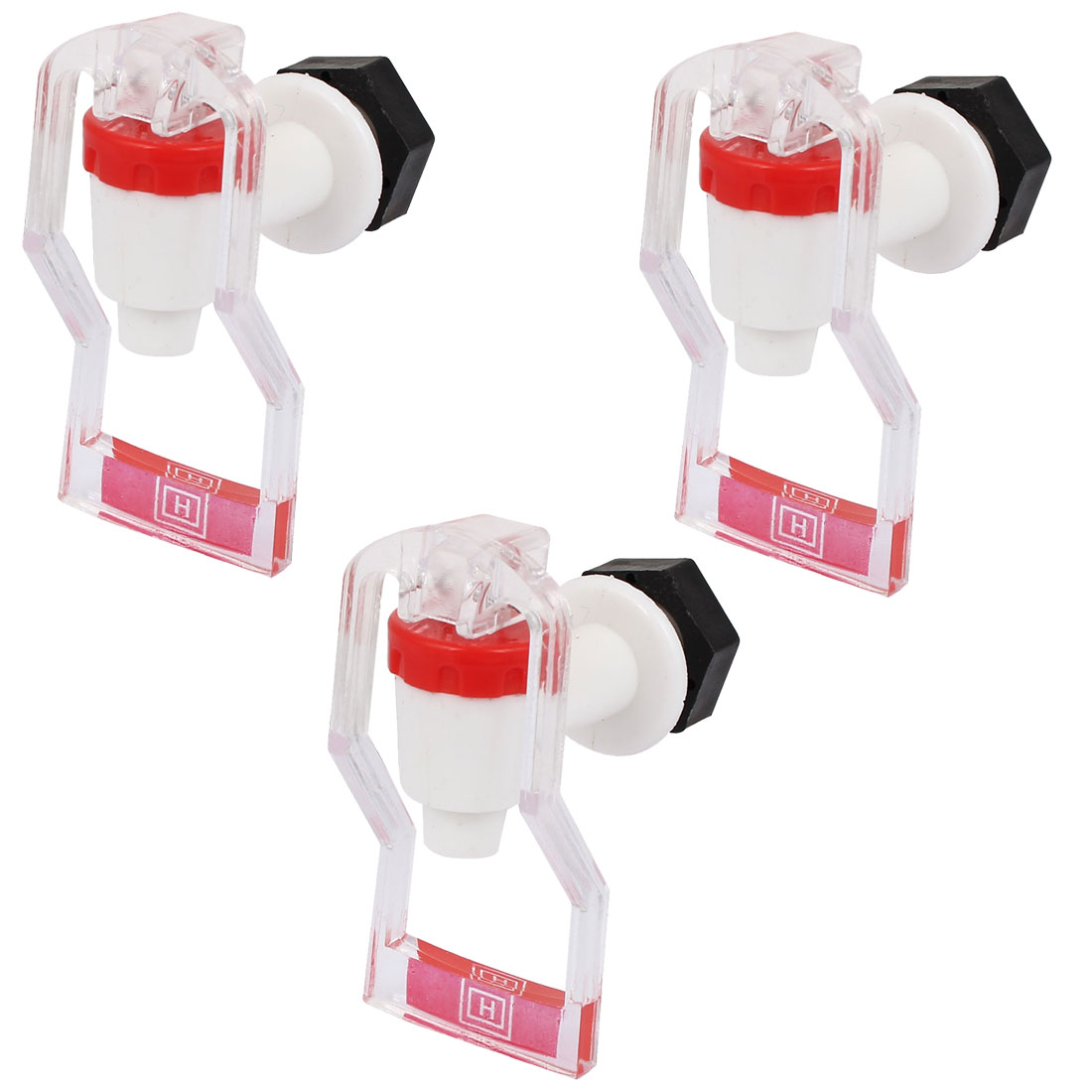 Plastic Replacement Home Push Type Water Dispenser Tap Faucet Red Clear 3Pcs