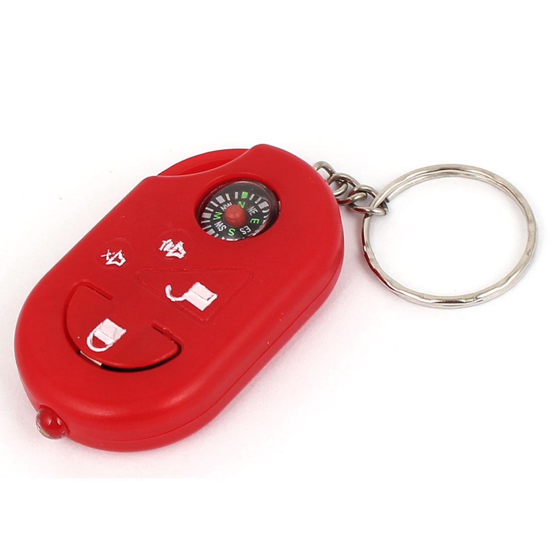 Compass Decor Flashlight Torch Pendant Keychain Keyring Key Holder Red