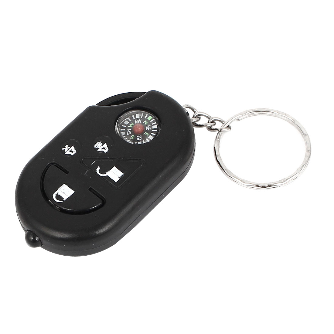 Compass Decor Flashlight Torch Pendant Keychain Keyring Key Holder Black