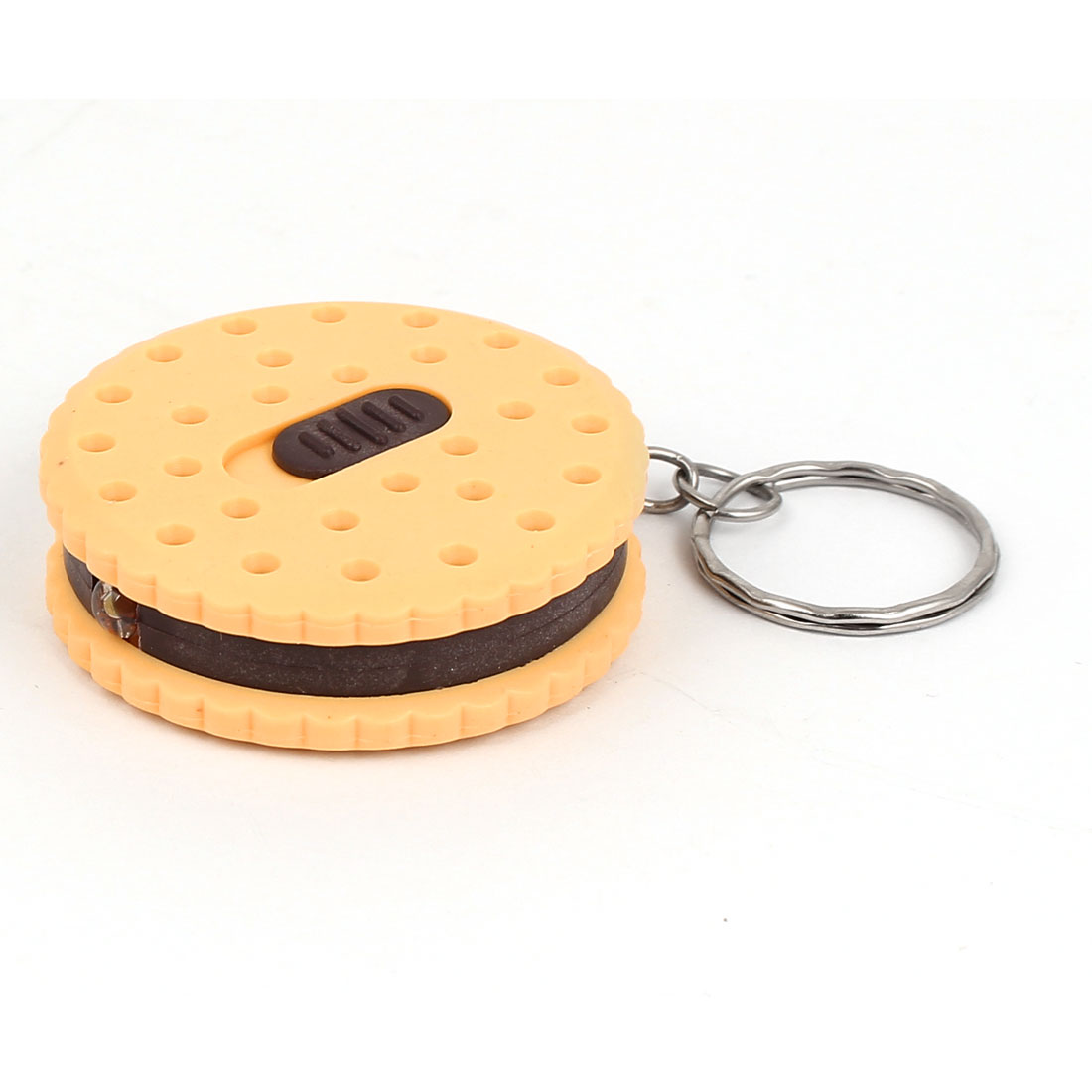 Chocolate Biscuit Shaped Flashlight Torch Pendant Keychain Keyring Key Holder Yellow