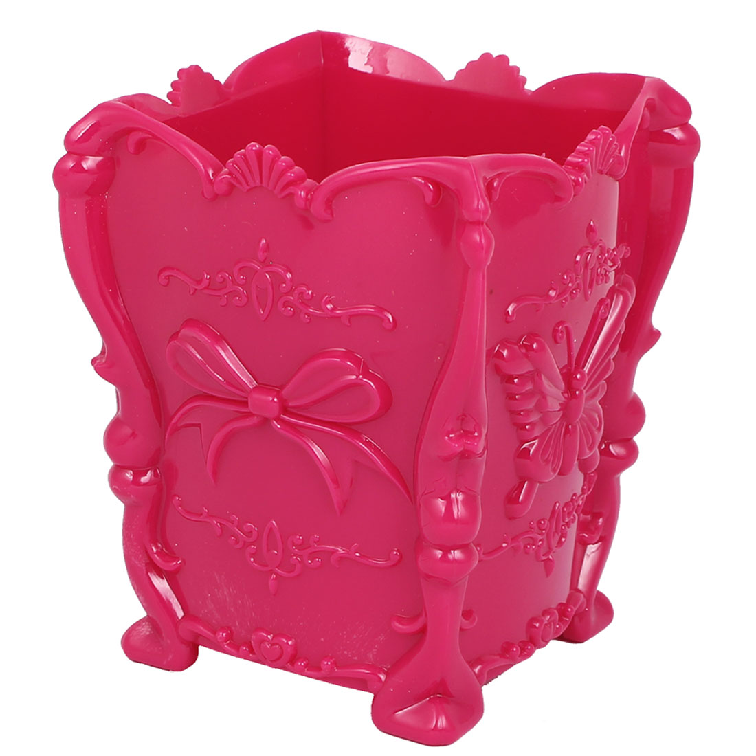 Plastic Butterfly Bowtie Pattern Cosmetic Makeup Jewelry Storage Box Case Holder Fuchsia