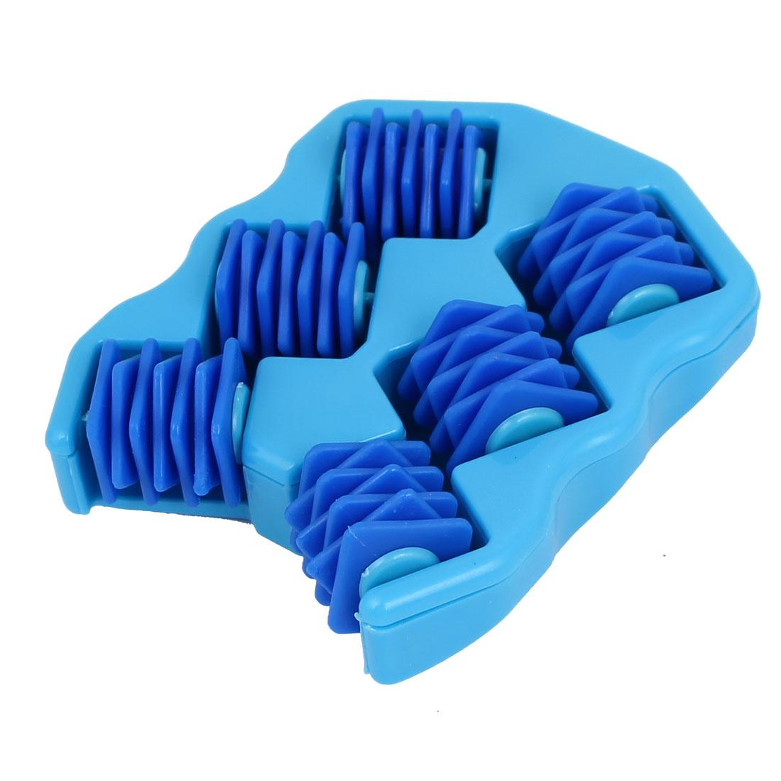Plastic Shell 6 Wheel Stress Relief Body Relaxing Massage Roller Massager Blue