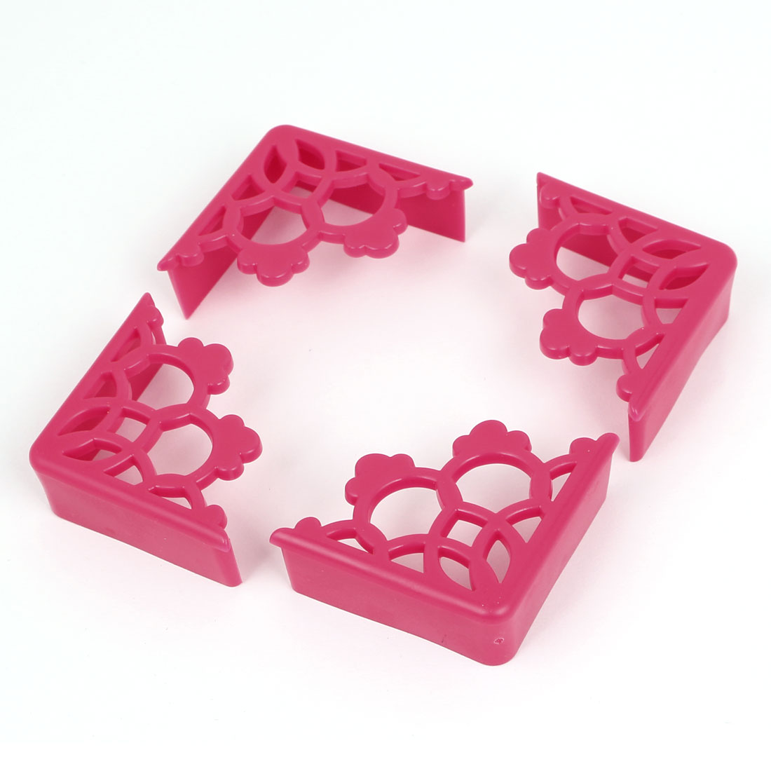 Hollow Flower Design Table Desk Corner Edge Cushion Guard Protector Fuchsia 4Pcs