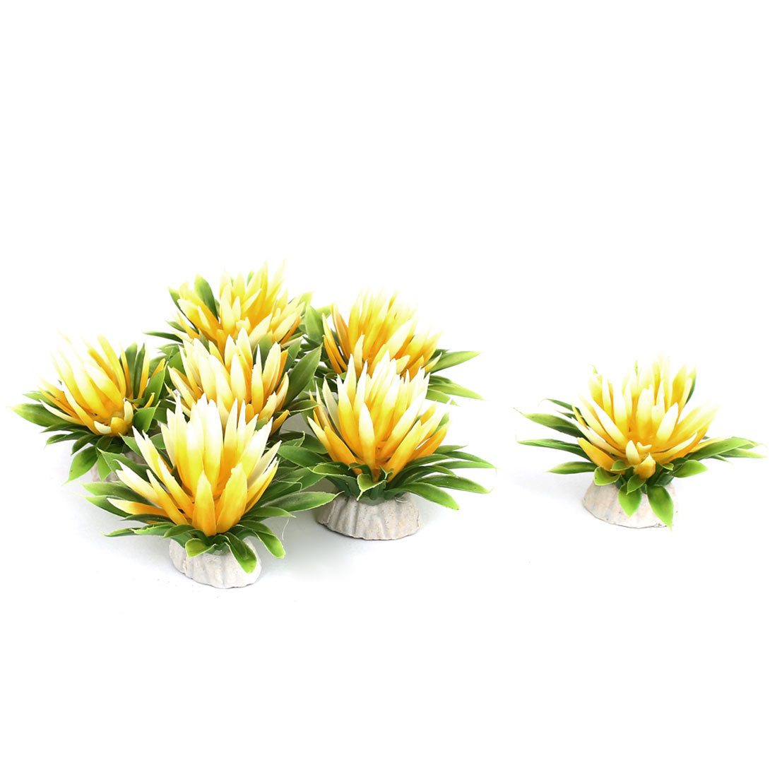 Aquarium Fish Tank Bowl Artificial Fake Flower Plant Decor Ornament Yellow 7Pcs