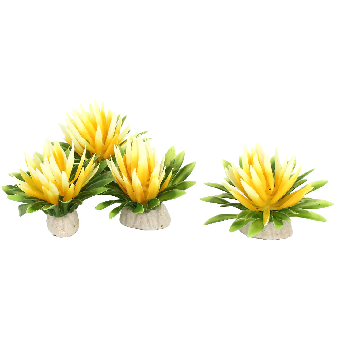 Aquarium Fish Tank Bowl Artificial Fake Flower Plant Decor Ornament Yellow 4Pcs