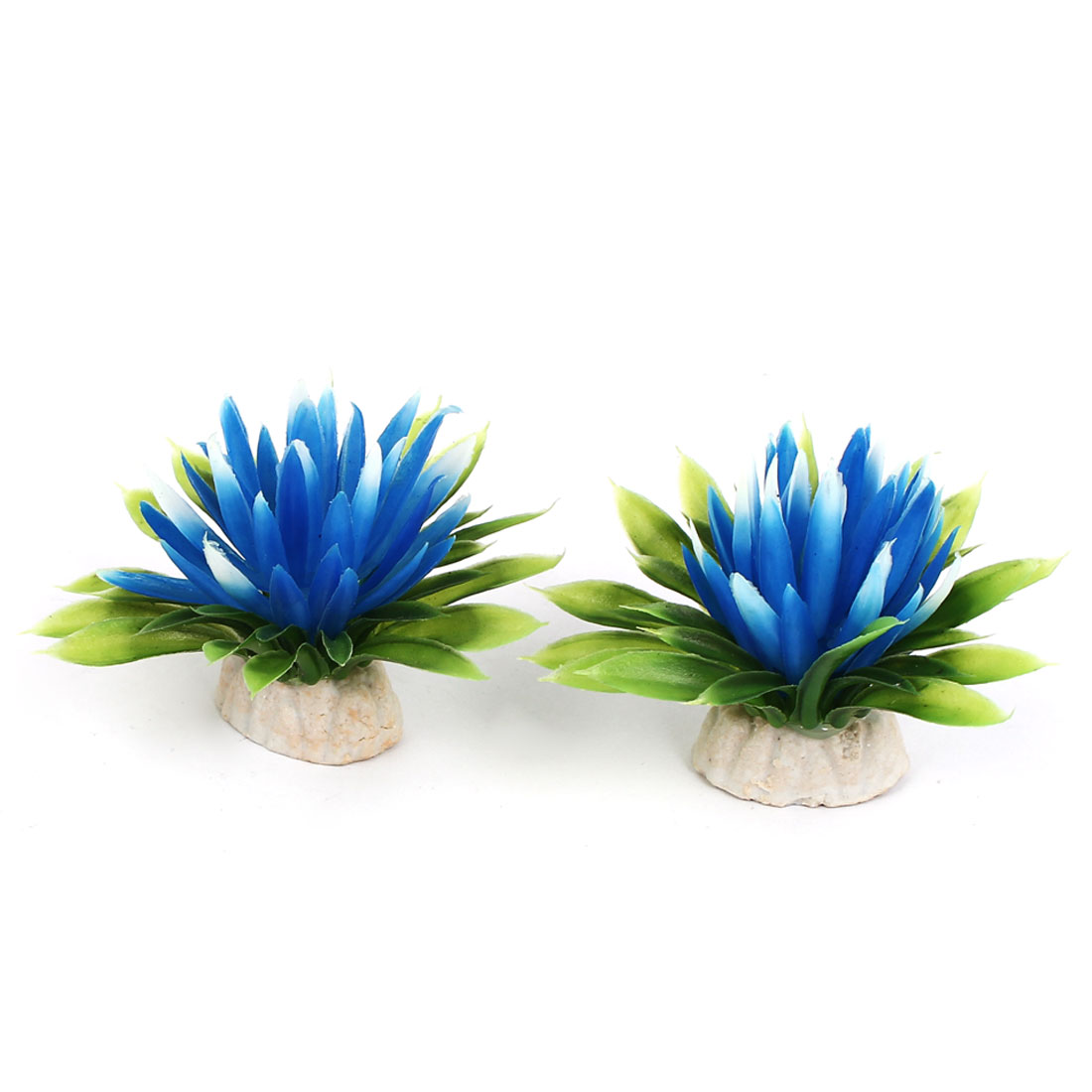 Aquarium Fish Tank Bowl Artificial Fake Flower Plant Decor Ornament Blue 2Pcs