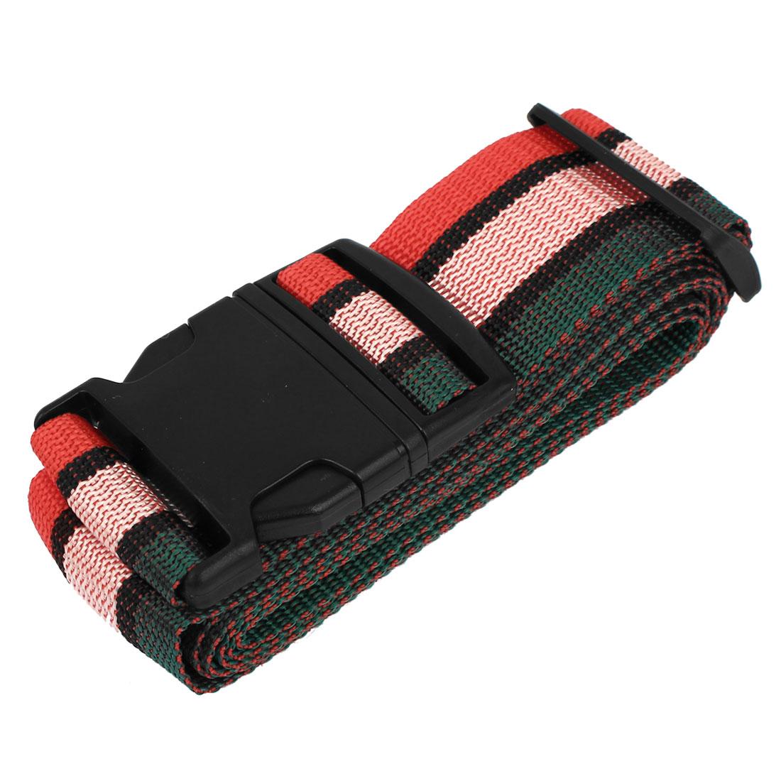 Stripe Pattern Side Release Buckle Luggage Suitcase Backpack Baggage Adjustable Belt Strap 2M