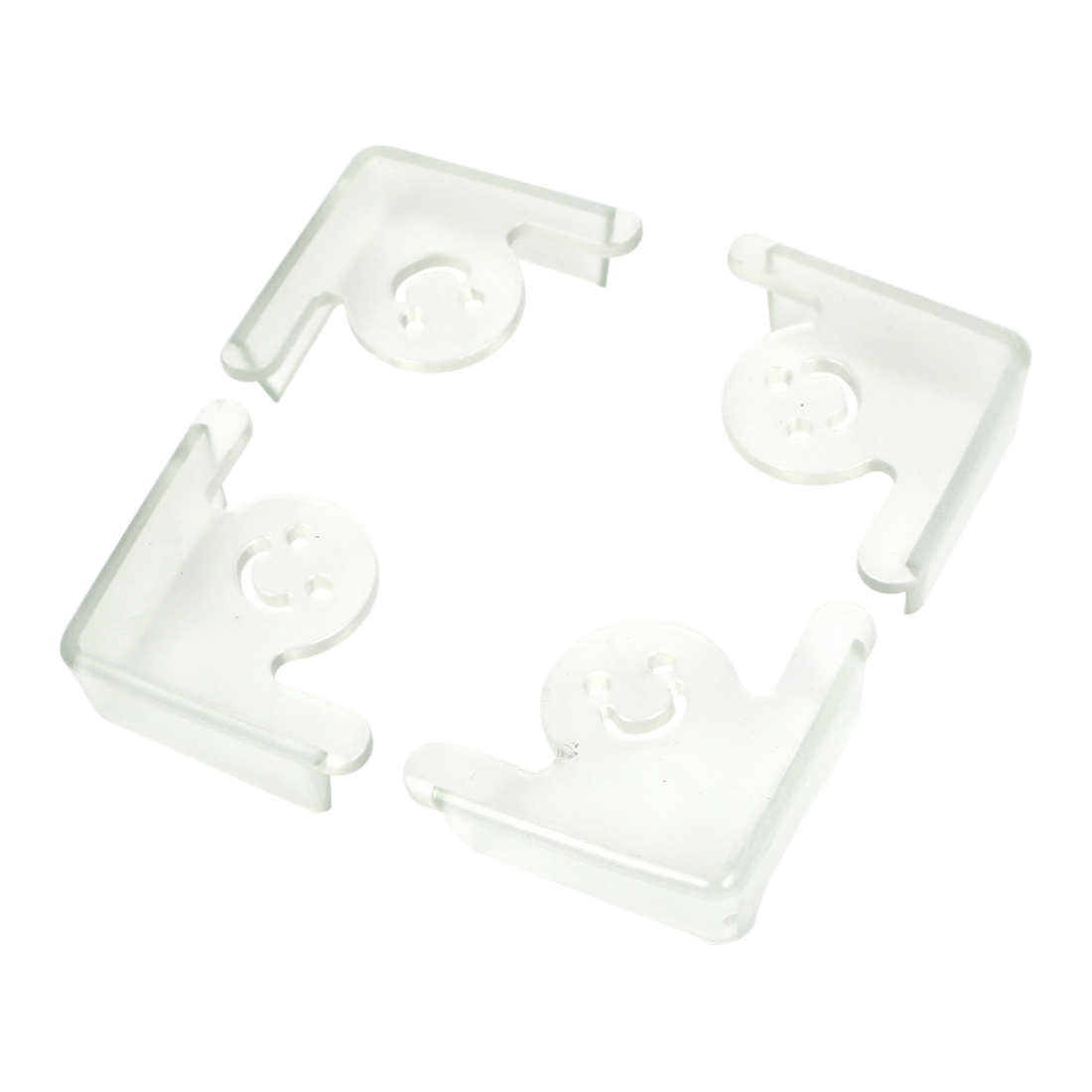 Smiling Face Pattern Table Desk Corner Edge Cushion Guard Protector Clear 4Pcs