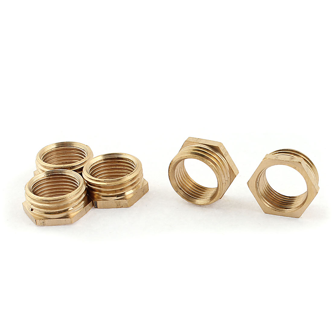 1/2BSP Male x 3/8BSP Female Thread Hex Bushing Reducer Pipe Fitting Gold Tone 5pcs