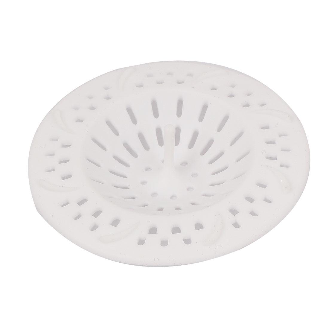 95mm Dia Kitchen Bathtub Waste Drain Strainer Filter Hair Catcher Stopper White