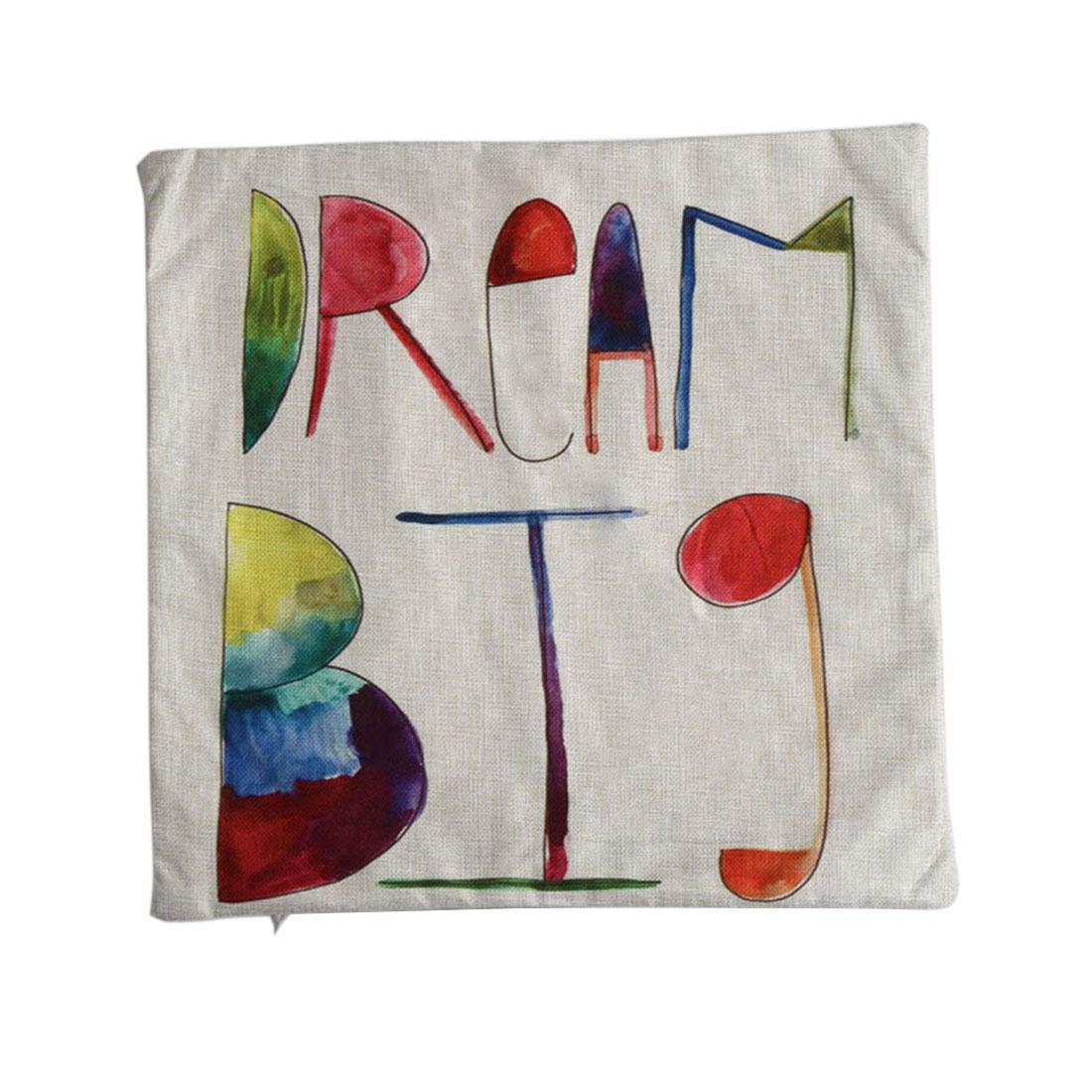 Piccocasa Linen Dream Letters Pattern Pillowcase Cushion Cover 45 x 45cm