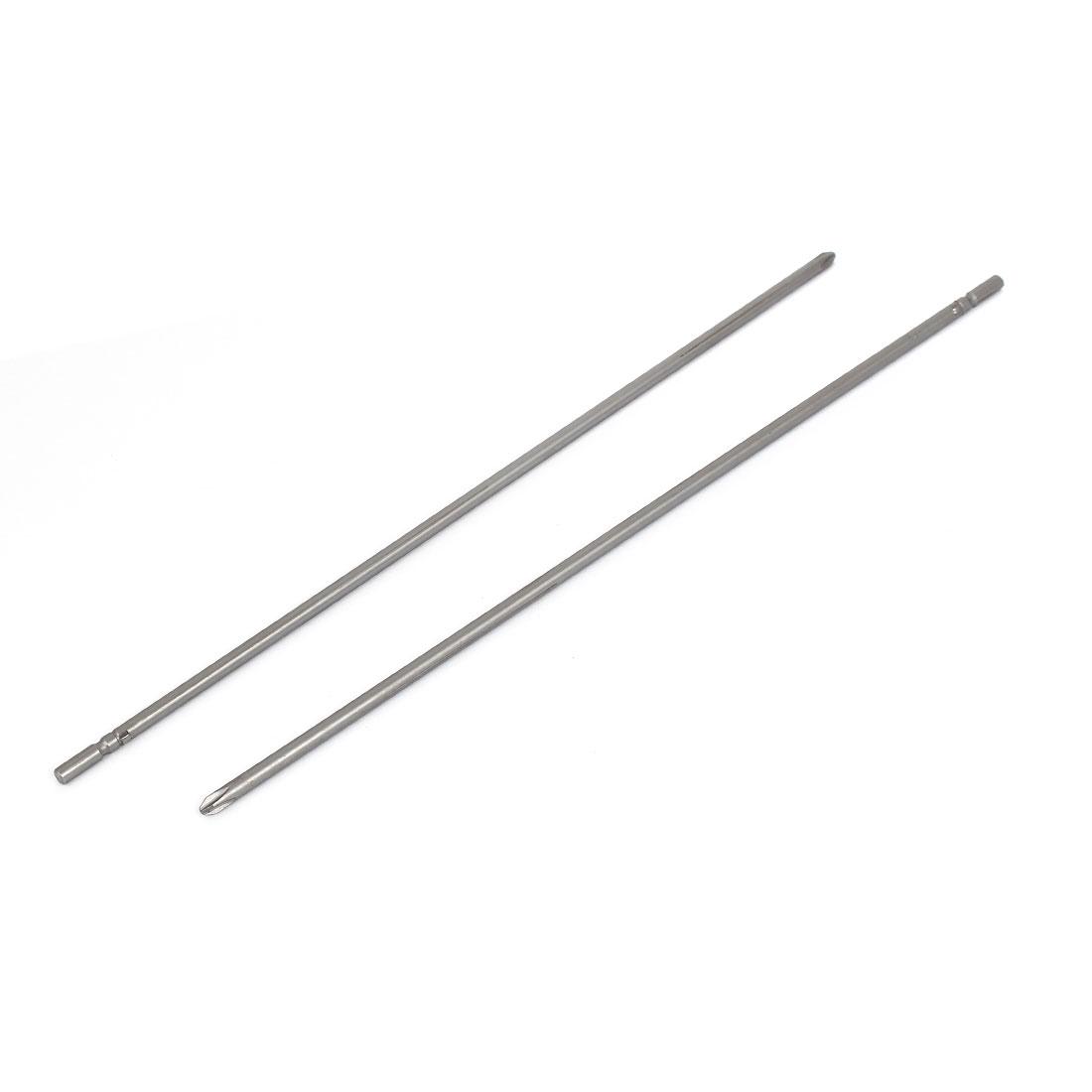 Magnetic PH2 5mm Phillips Cross Head Screwdriver Bit Tool 300mm Length 2pcs