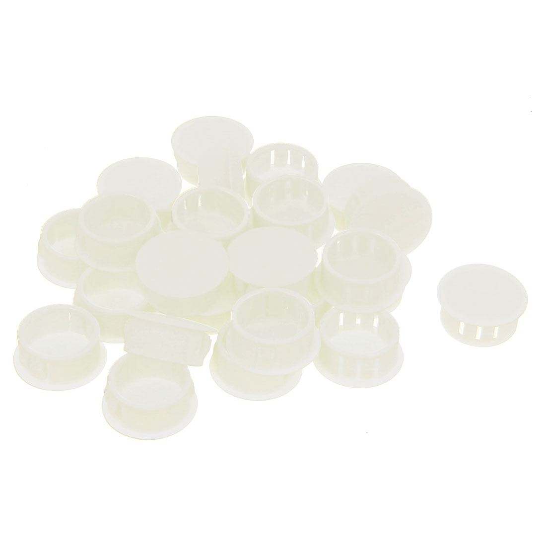 26 Pcs SKT-22 22mm Insulated White Plastic Snap in Mount Domed Blank Lock Hole Connectors Cover Harness Fastener