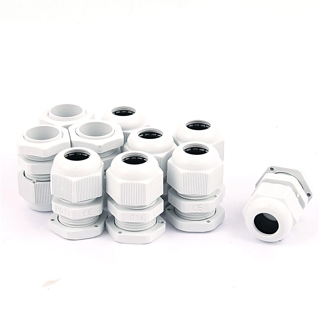 PG-11 White Plastic Waterproof Connectors Cable Glands 10 Pcs