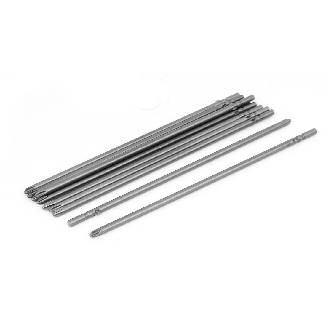 Magnetic PH2 5mm Phillips Cross Head Screwdriver Bit Tool 200mm Length 10pcs
