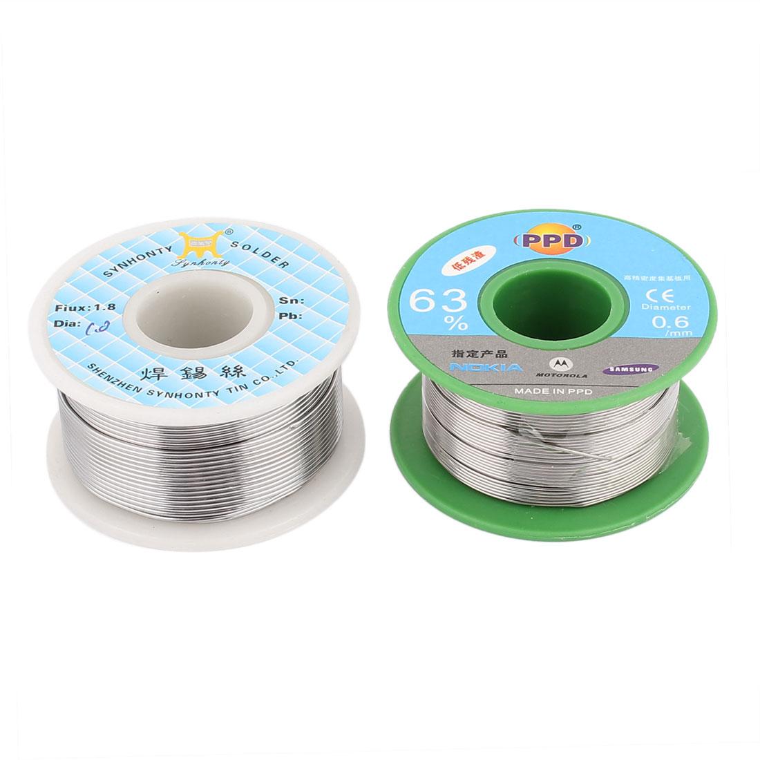 2PCS 0.6mm 1.0mm 63/37 Solder Flux Soldering Tin Lead Wire Reel Core 5M