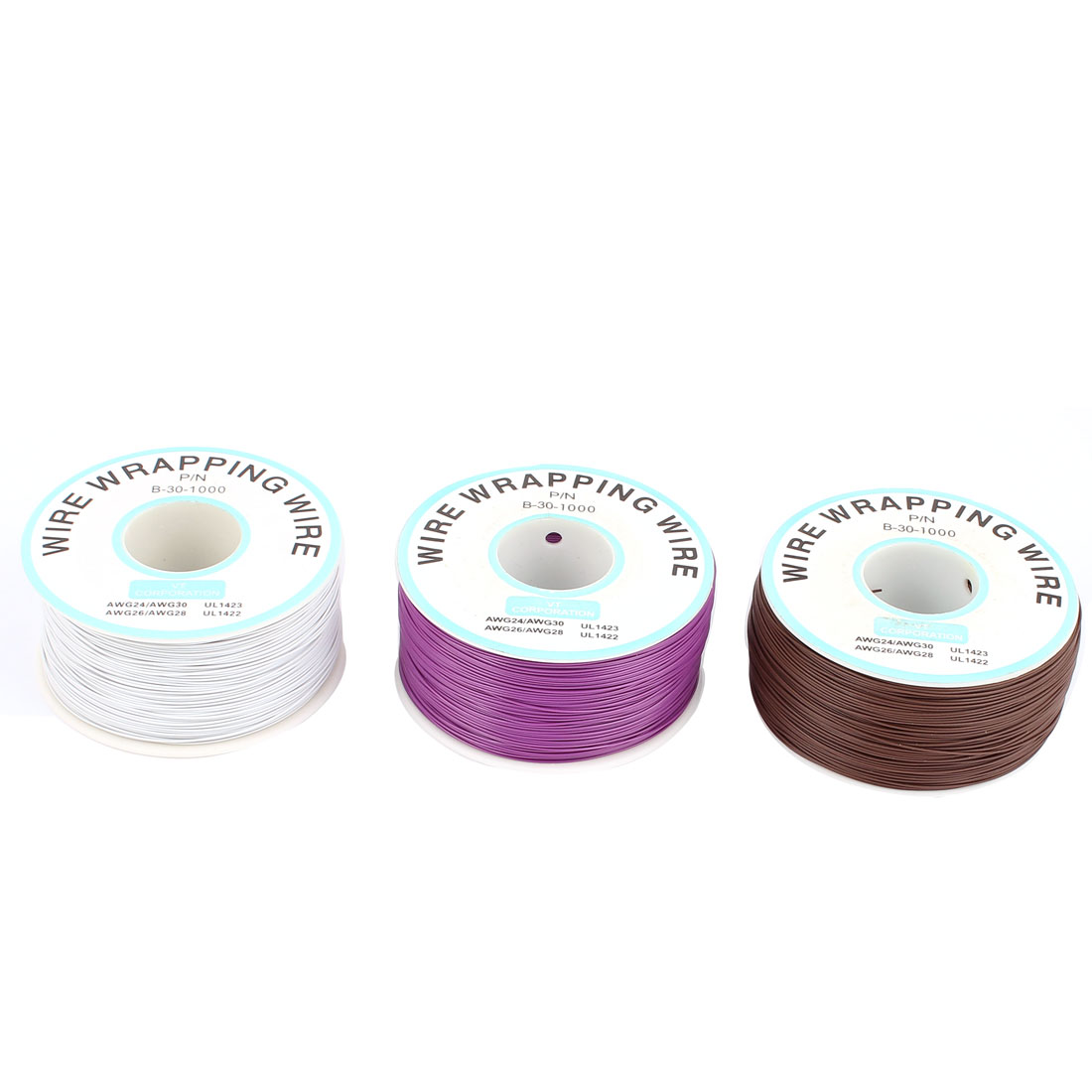 3PCS PCB Solder Assorted Color Soft 0.25mm Dia Brass Wire 30AWG Wrapping Wrap 1000Ft