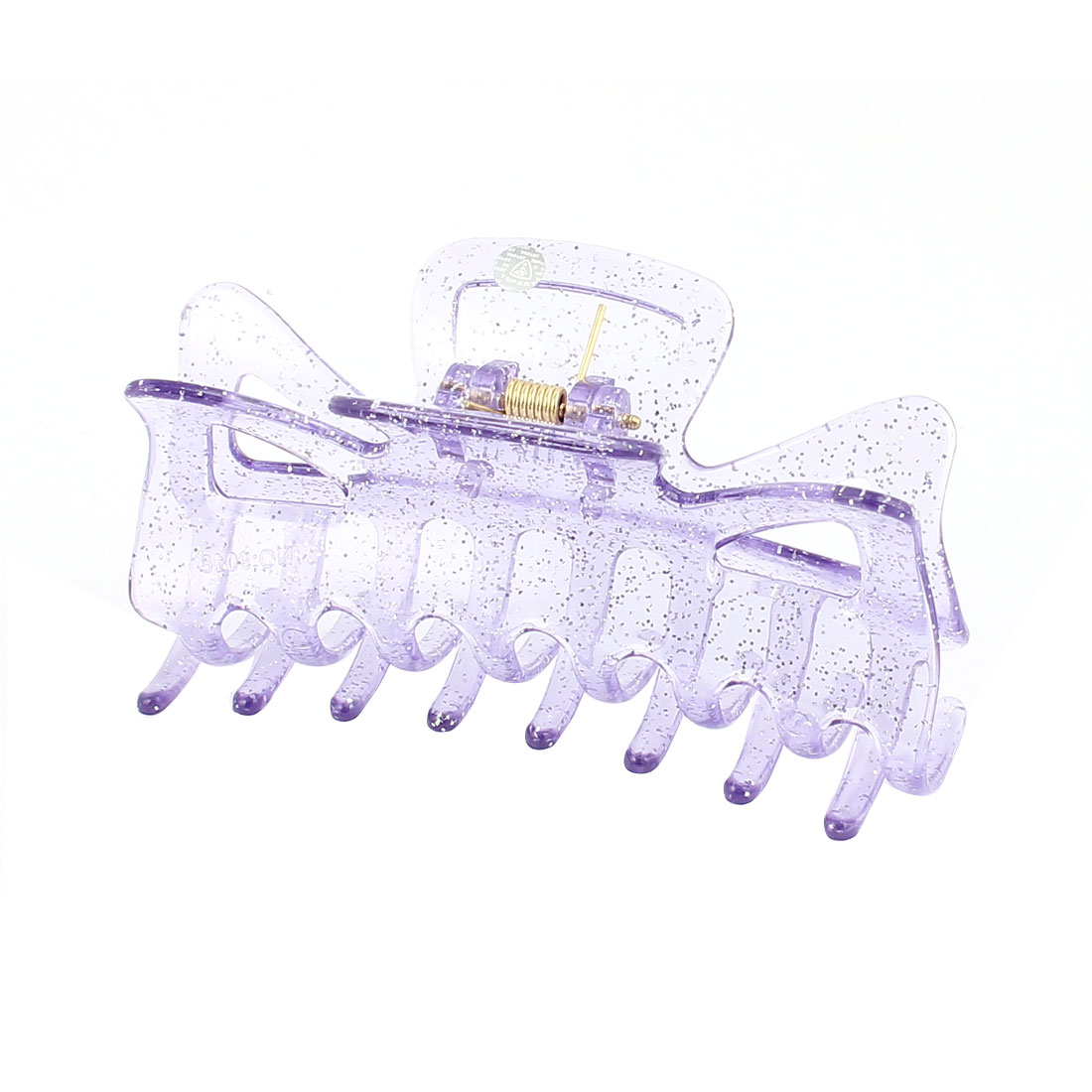Lady Spring Loaded Plastic Powder Detailing Hair Claw Clip Clamp Hairpin Light Purple
