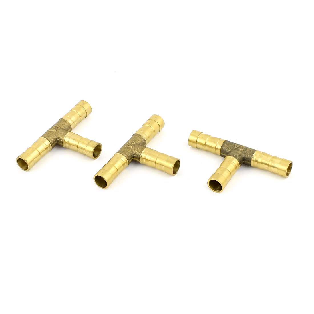 3Pcs 3 Way T-Shaped 8mm Tube Connector Brass Fuel Hose Barb Fittings