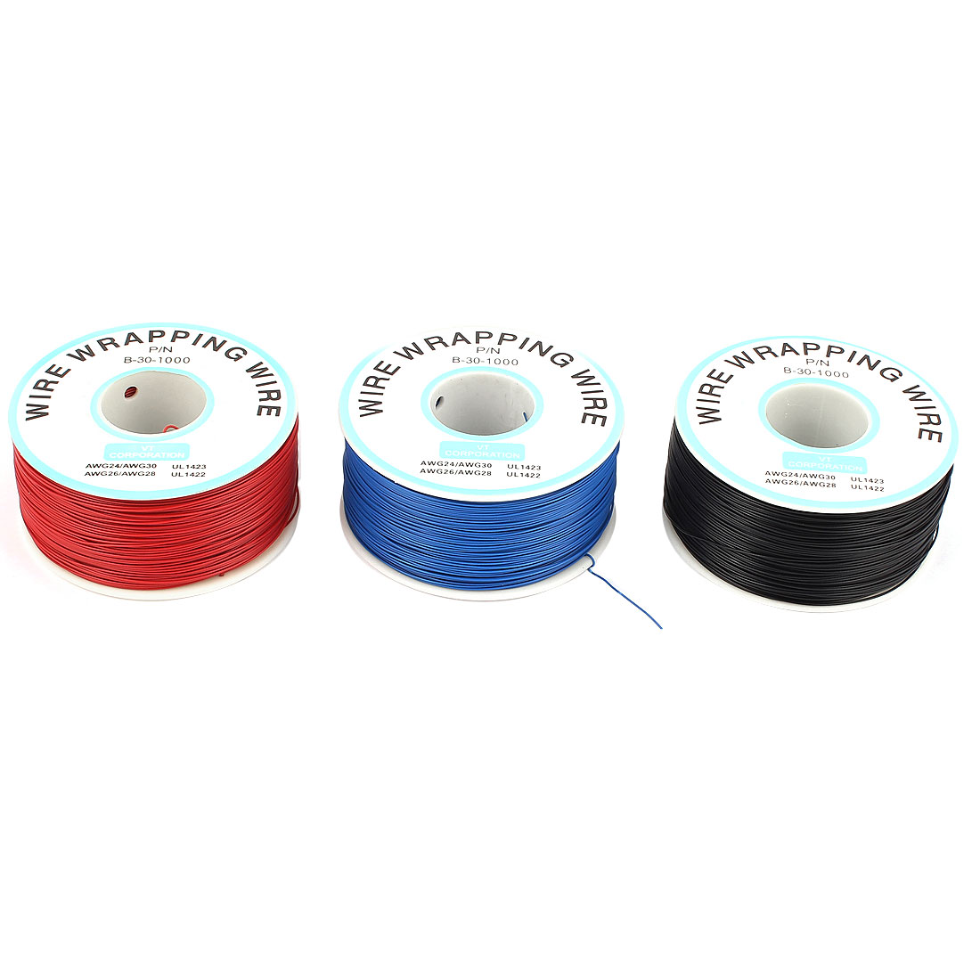 3PCS PCB Solder Assorted Color Soft 0.25mm Dia Copper Wire 30AWG Wrapping Wrap 1000Ft