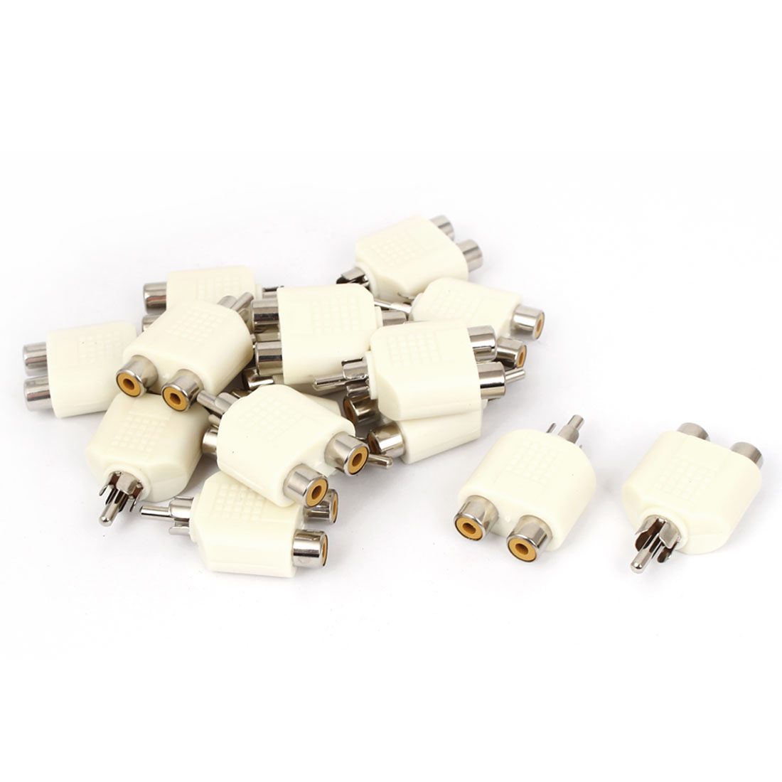 15pcs 1 Male to 2 Female RCA AV Y Splitter Adapter Connector for Audio Cable
