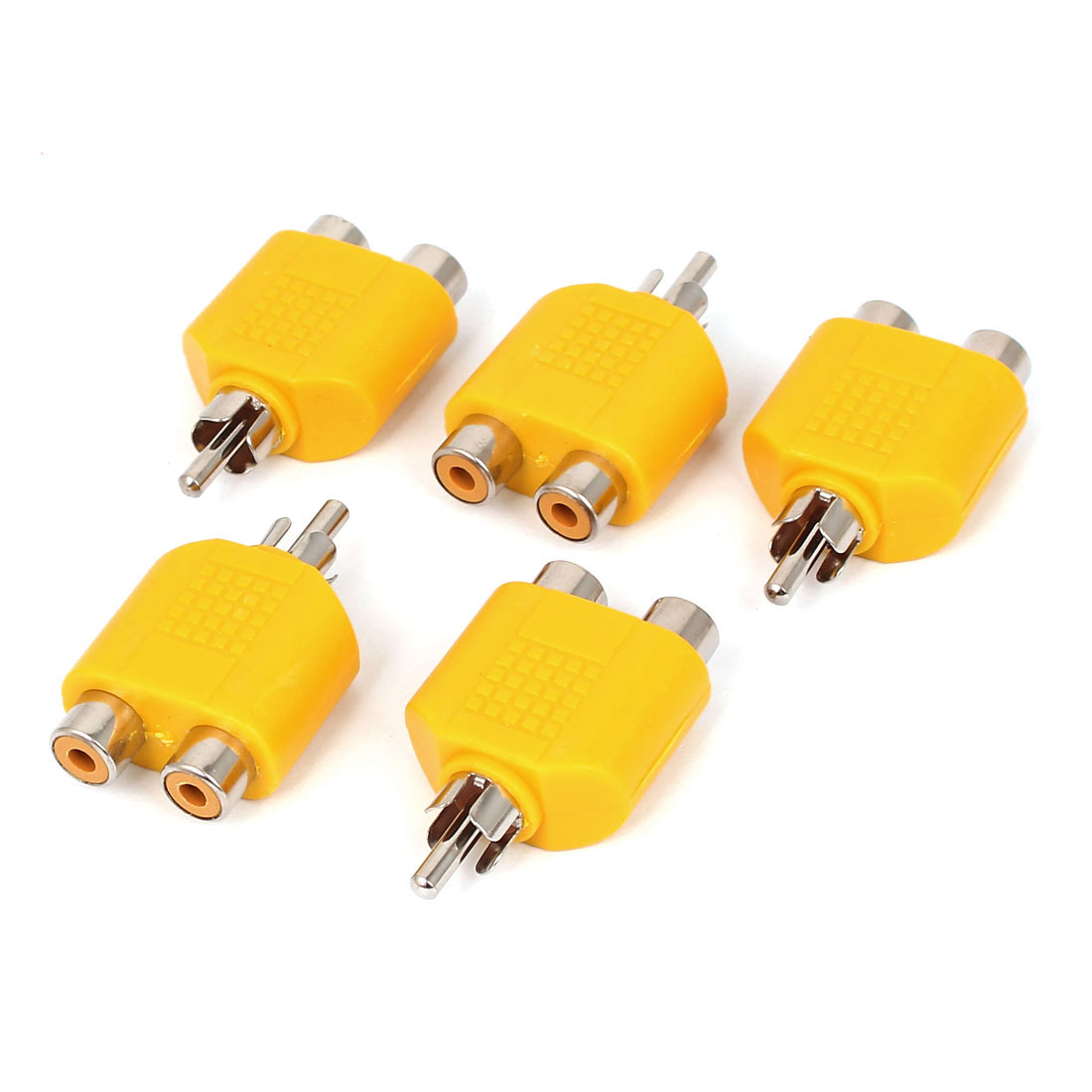 Yellow RCA Y Splitter Male to 2 Female M/F Stereo Audio Video Adaptor Connector 5pcs