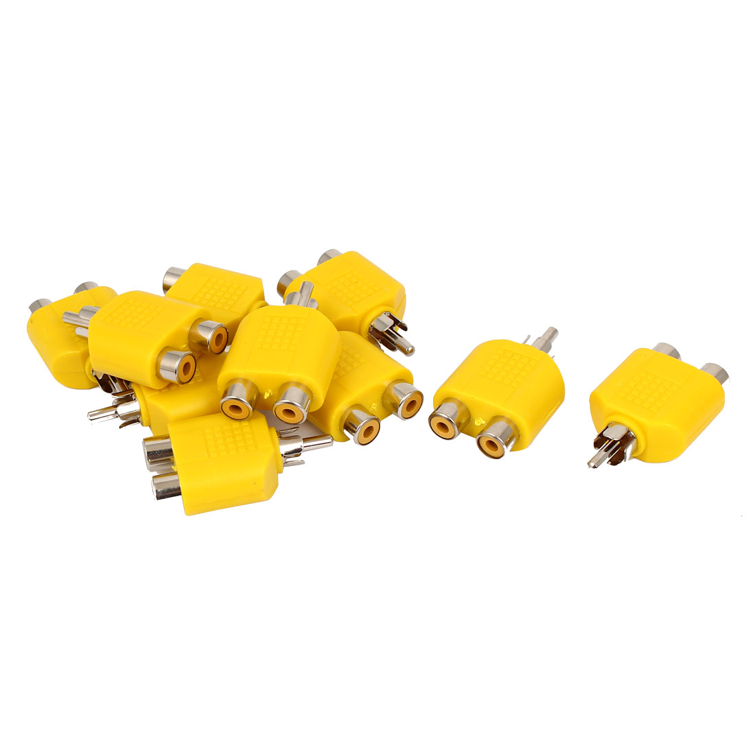 Yellow RCA Y Splitter Male to 2 Female M/F Stereo Audio Video Adaptor Connector 10pcs