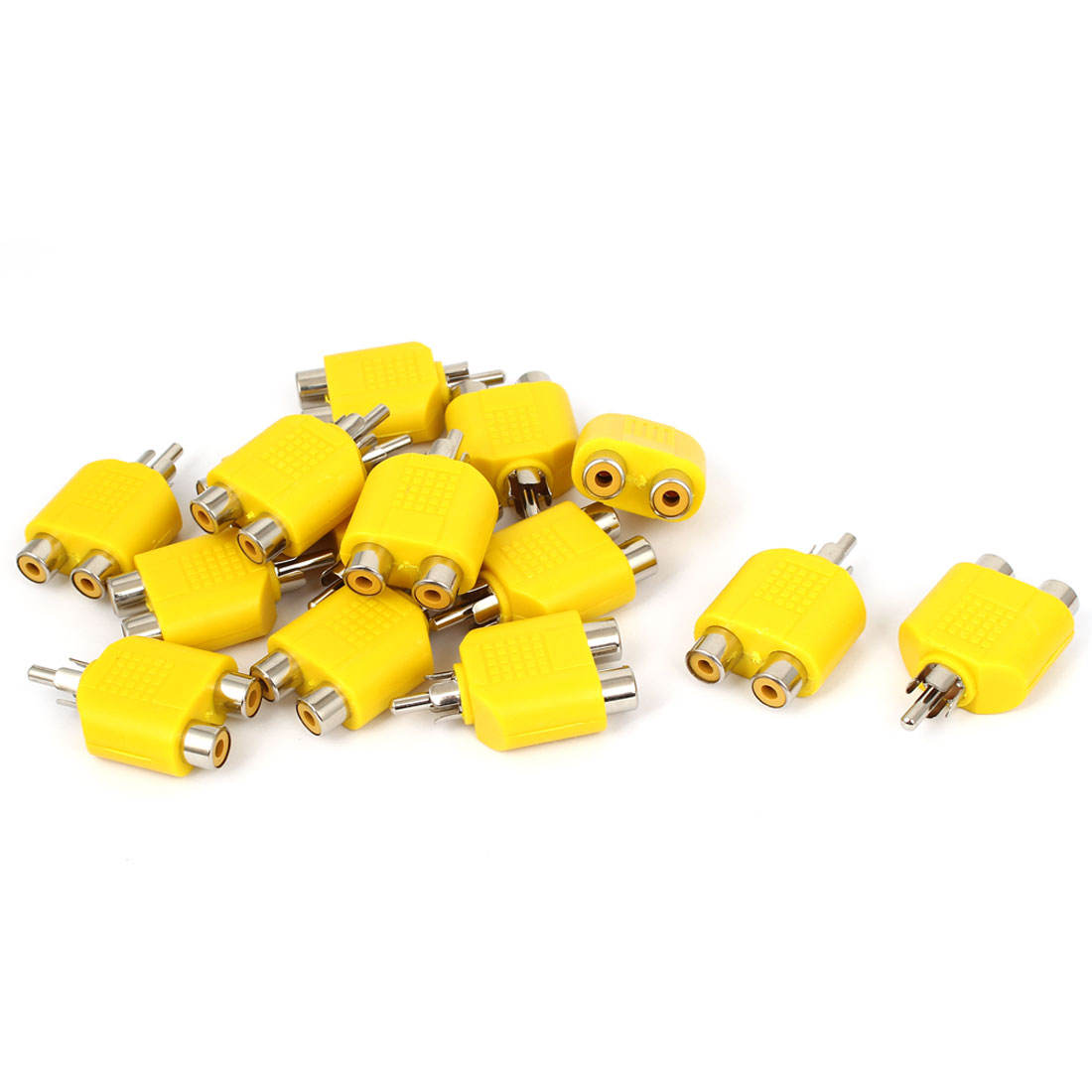 Yellow RCA Y Splitter Male to 2 Female M/F Stereo Audio Video Adaptor Connector 15pcs