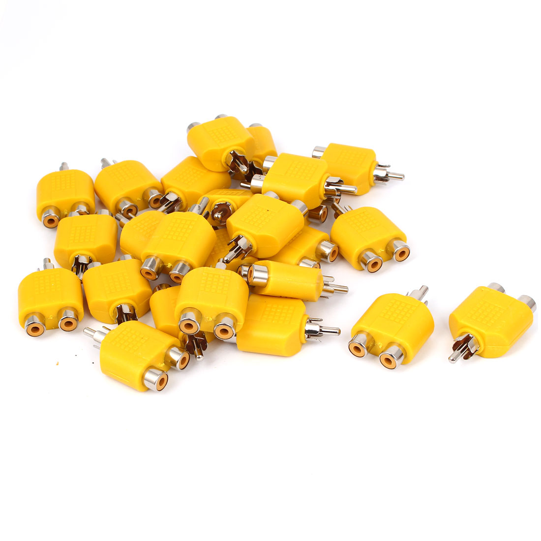 Yellow RCA Y Splitter Male to 2 Female M/F Stereo Audio Video Adaptor Connector 25pcs