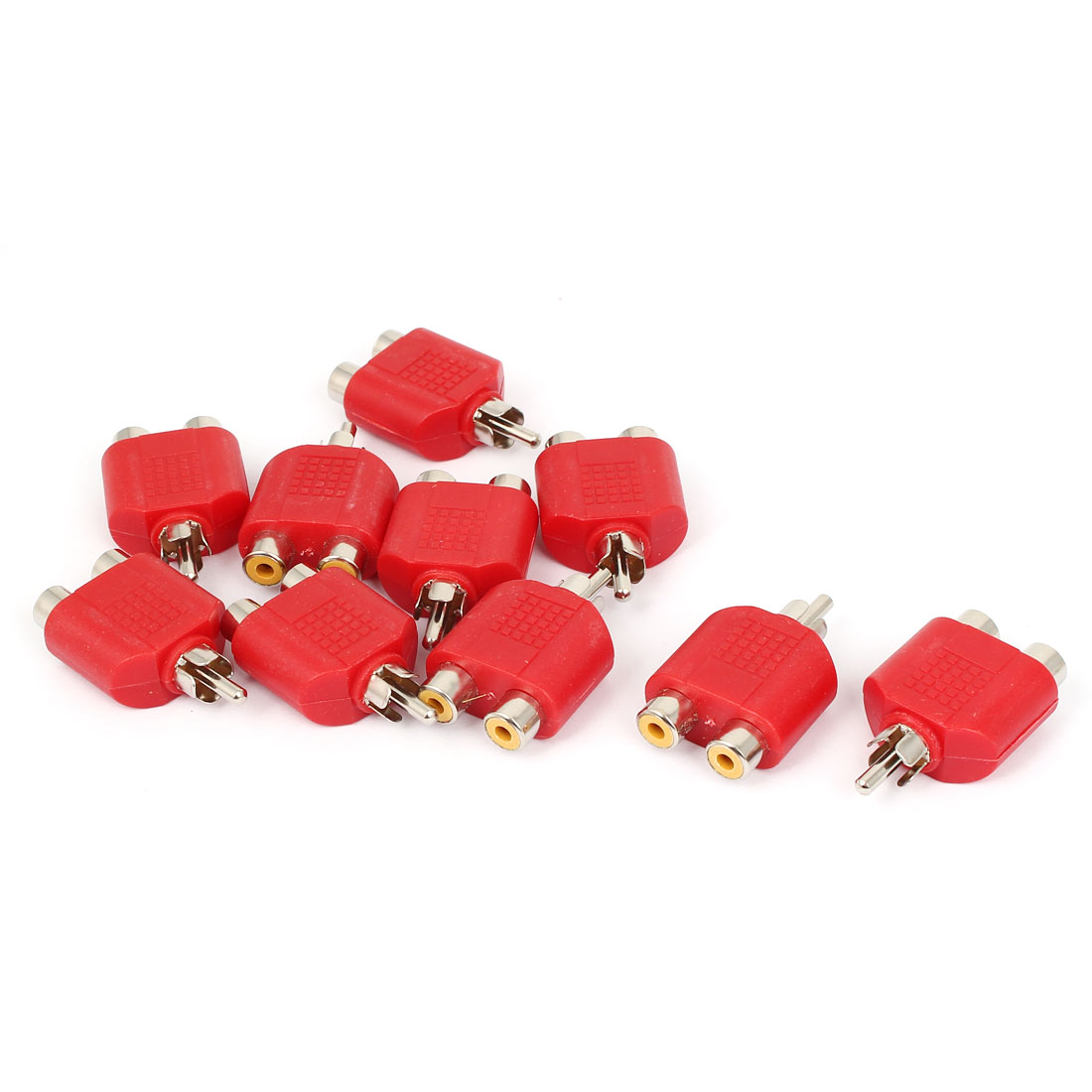 RCA Male to Dual Female Y Splitter Audio Adapter Converter Connector Red 10pcs