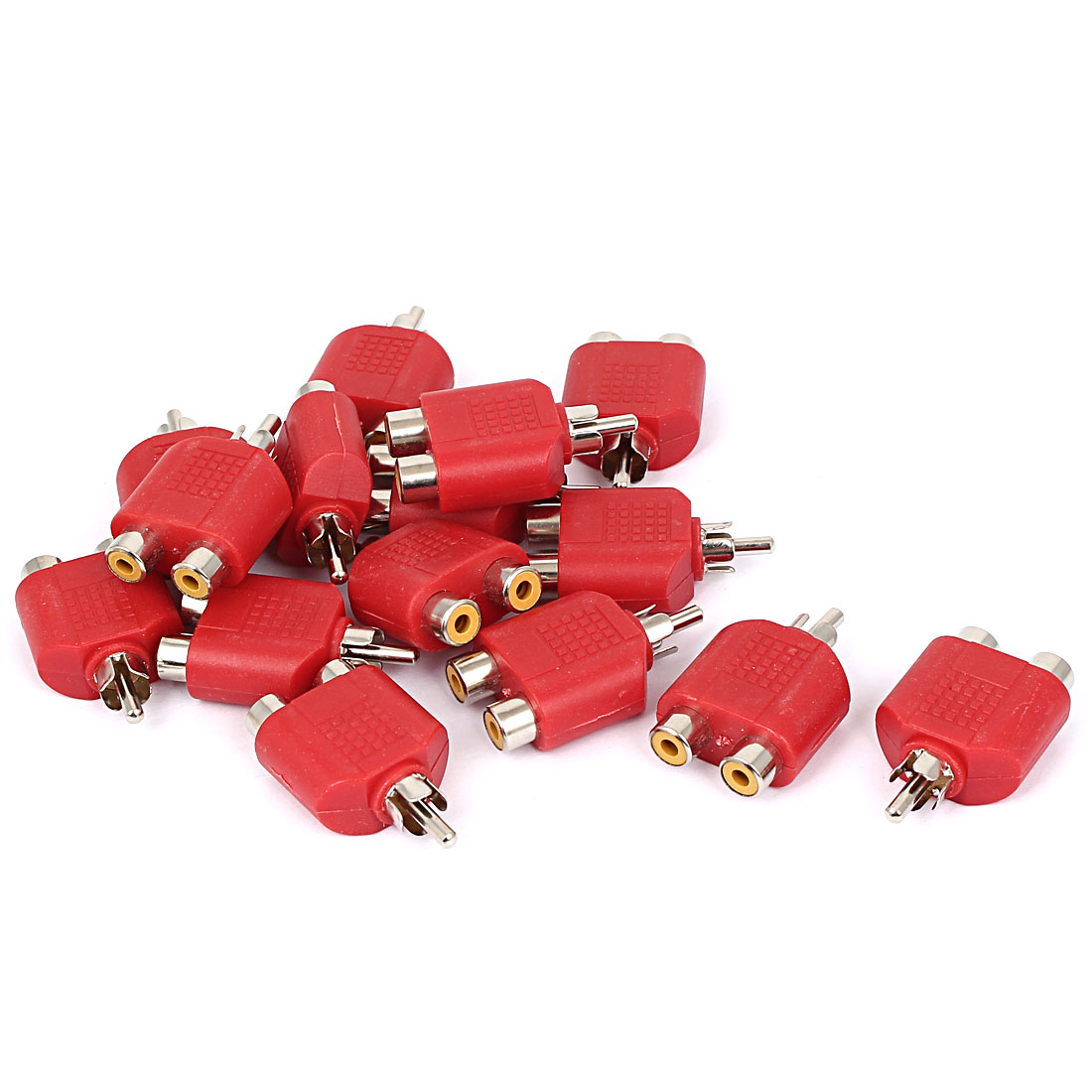 RCA Male to Dual Female Y Splitter Audio Adapter Converter Connector Red 15pcs
