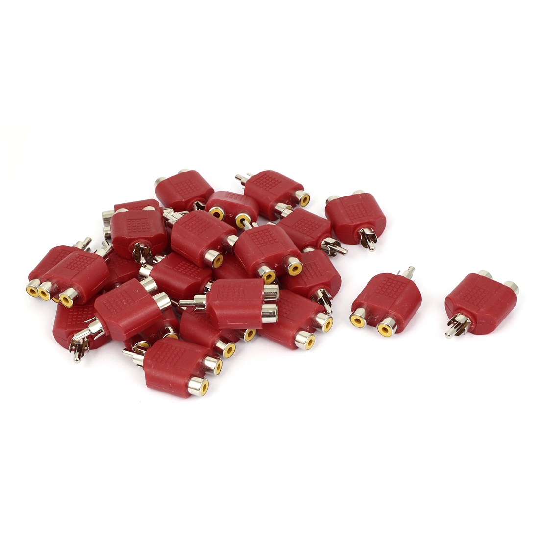 RCA Male to Dual Female Y Splitter Audio Adapter Converter Connector Red 25pcs
