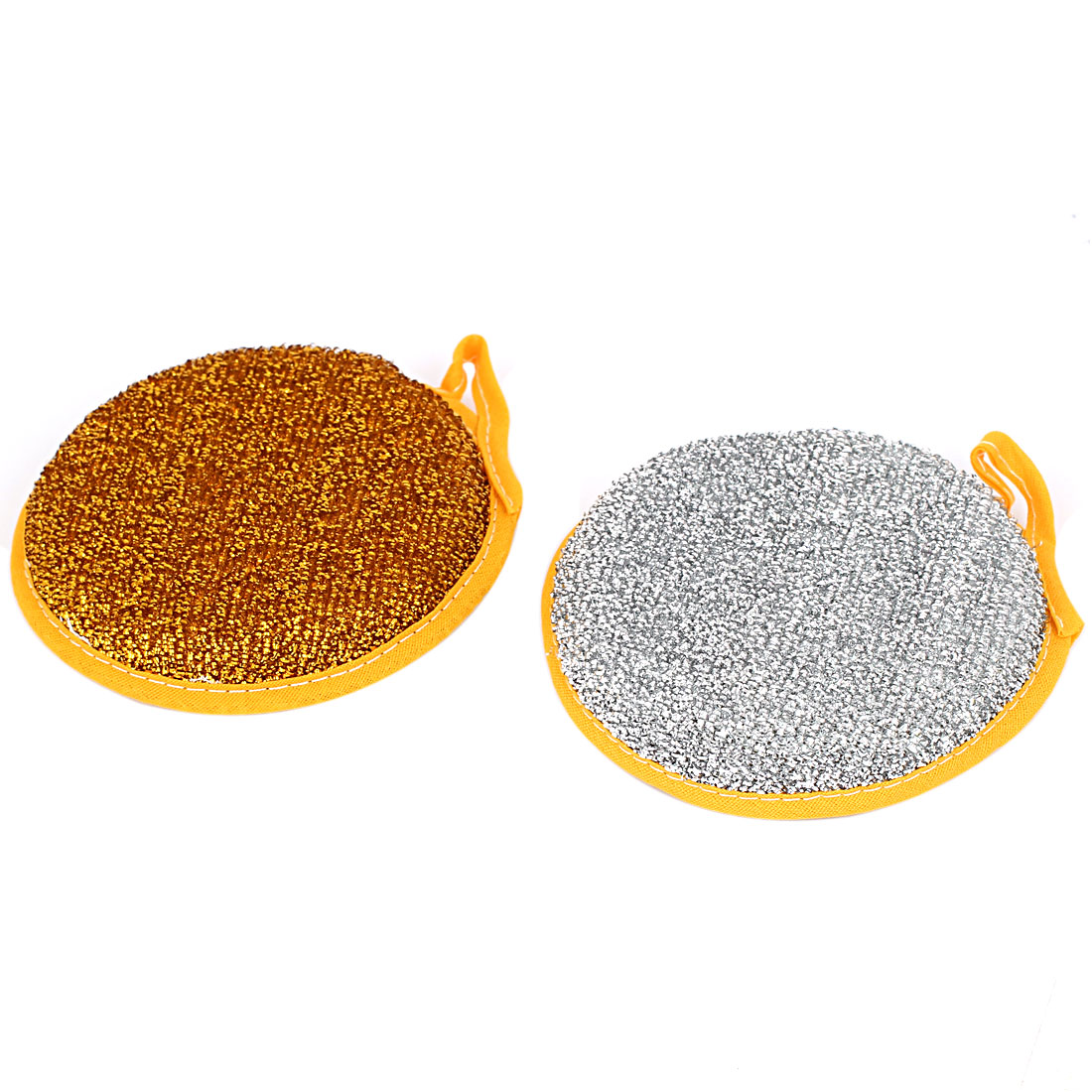 Home Kitchen Dish Cleaning Round Shape Dual Sides Sponge Pad Scrubber Cleaner 2pcs