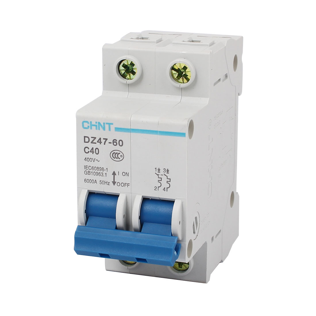 DZ47-60 C40 AC 400V 40A 2 Pole On/Off Switch Overload Protection Miniature Circuit Breaker
