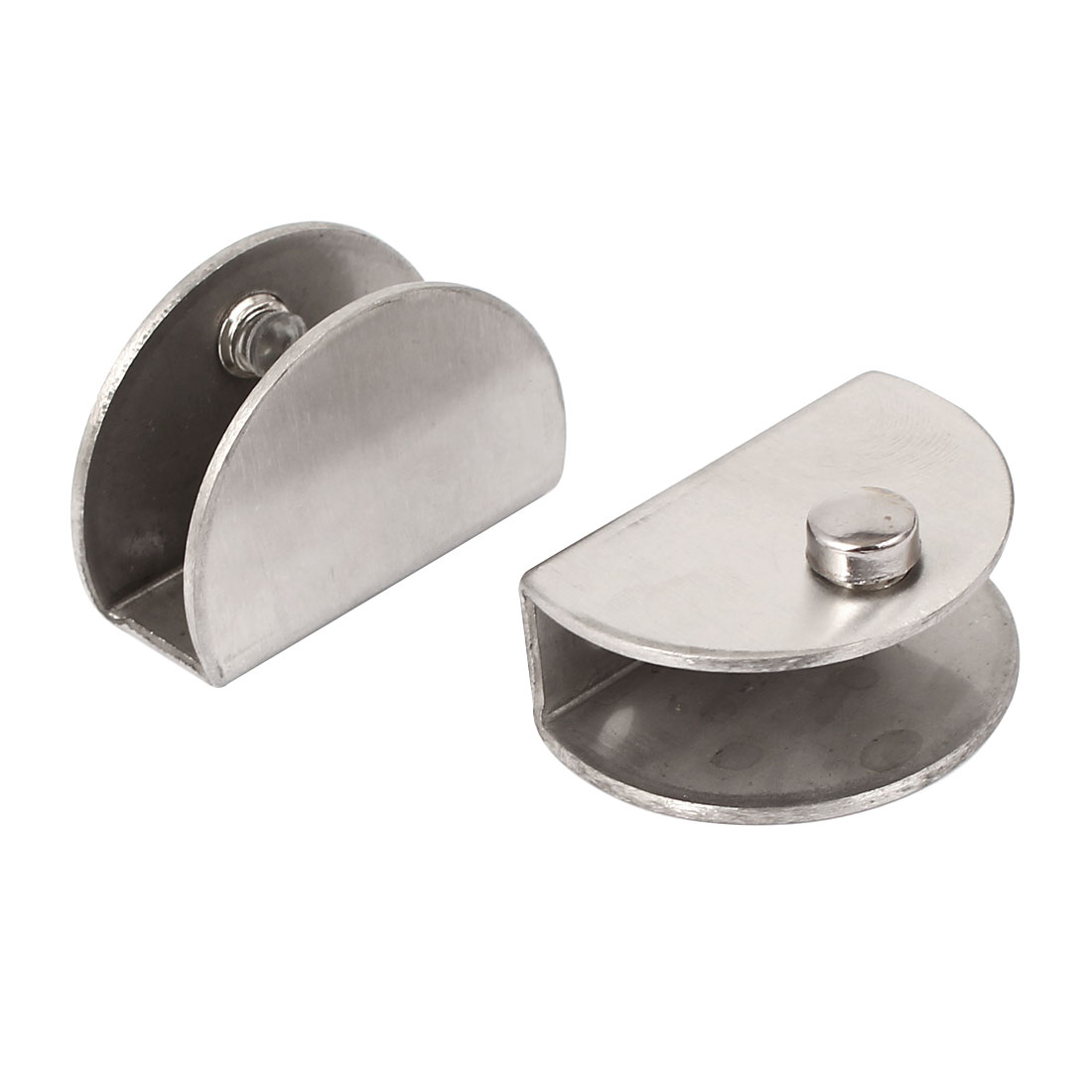 Half Round Shaped Stainless Steel Clip Clamp Holder 2pcs for 10mm Thick Glass