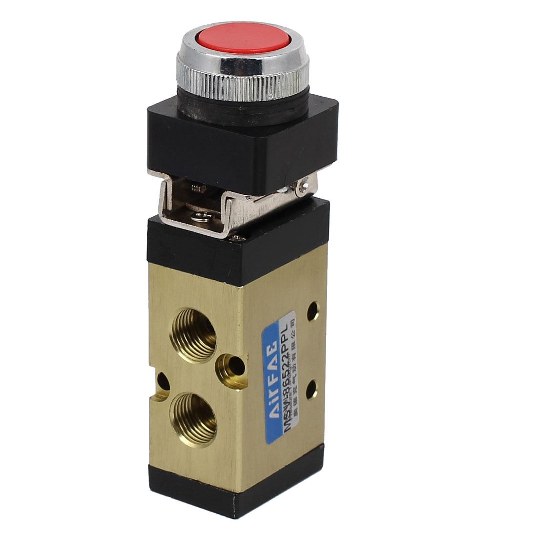MSV86522PPL 1/4BSP 5 Way 2 Position Momentary Flat Push Button Pneumatic Mechanical Valve