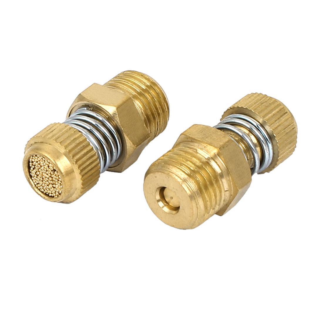 1/4BSP Male Thread Spring Loaded Brass Pneumatic Air Exhaust Muffler 28mm Length 2pcs