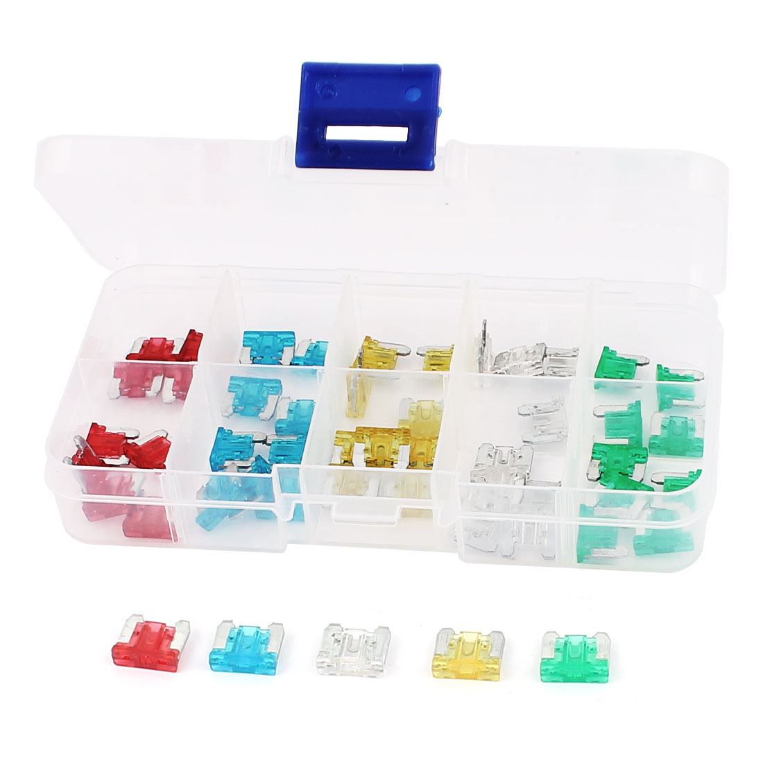 50PCS 2 Prong Assorted Colors Auto Car Blade Fuse 10A 15A 20A 25A 30A