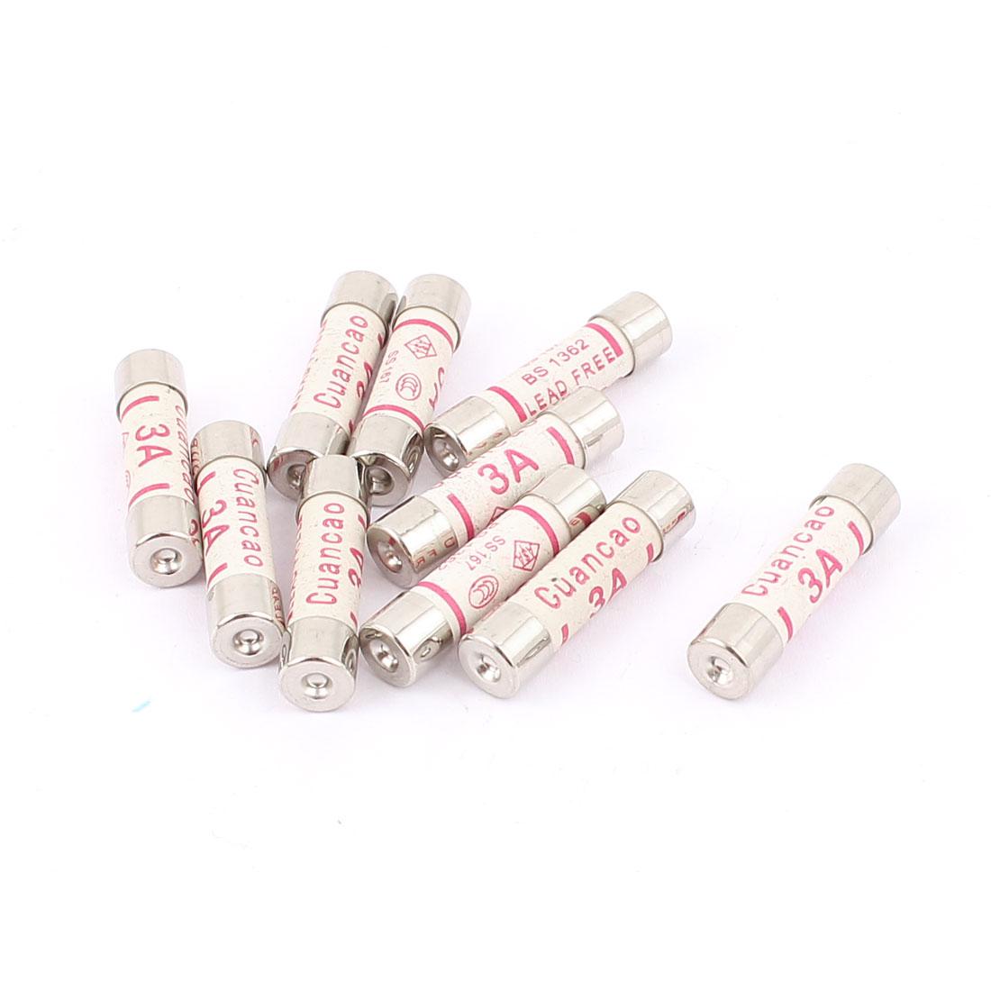 10 Pcs Low Breaking Capacity 6x25mm 3A 250V Cartridge Ceramic Fuses