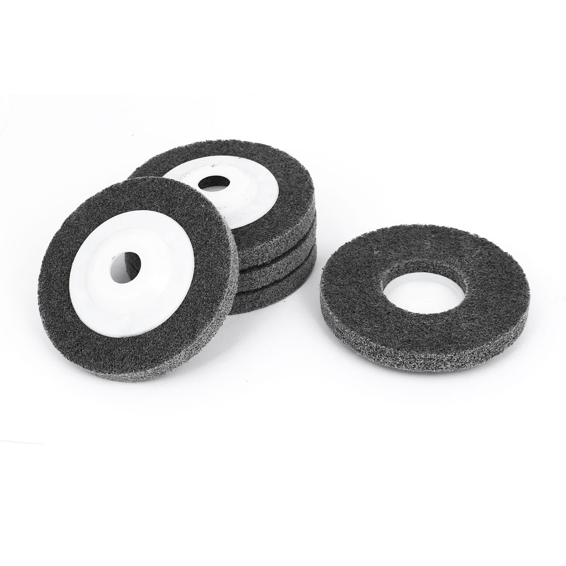16mm Bore 100mm Dia Nylon Fiber Polishing Buffing Polishers Wheel Gray 5pcs