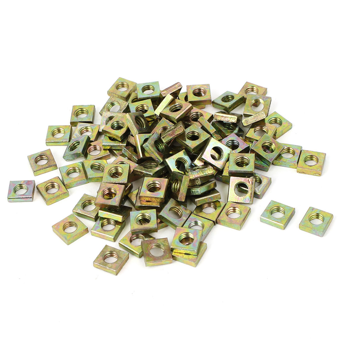 M6x10x3mm Yellow Zinc Plated Square Machine Screw Nuts Fastener 100pcs