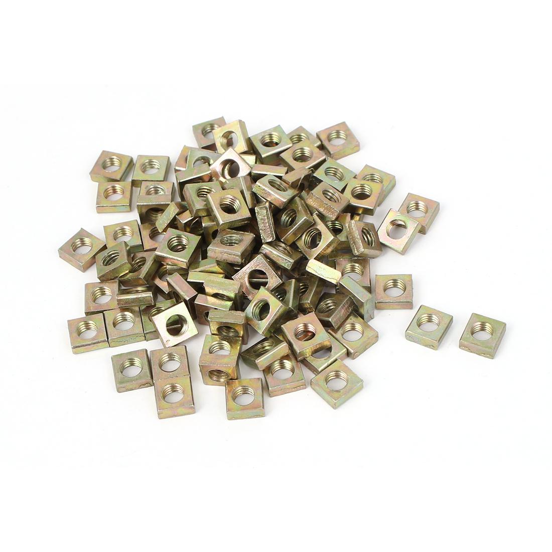 M5x8x3mm Yellow Zinc Plated Square Machine Screw Nuts Fastener 100pcs