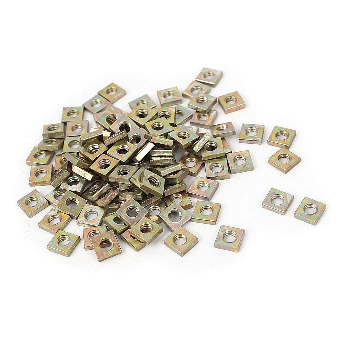 M4x7x2mm Yellow Zinc Plated Square Machine Screw Nuts Fastener 100pcs