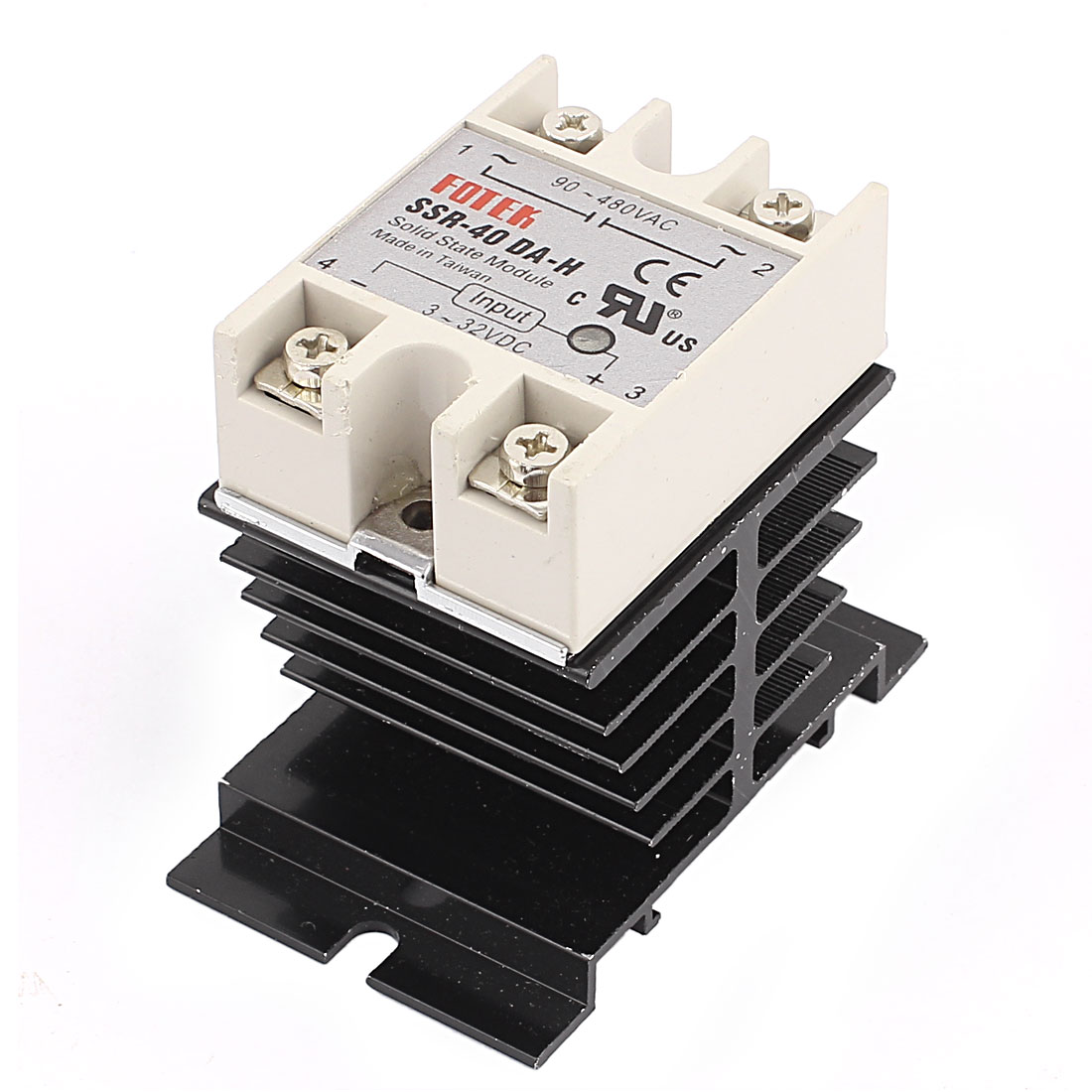 DC 3-32V / AC 90-480V 40A Single Phase SSR Solid State Module w Heat Sink