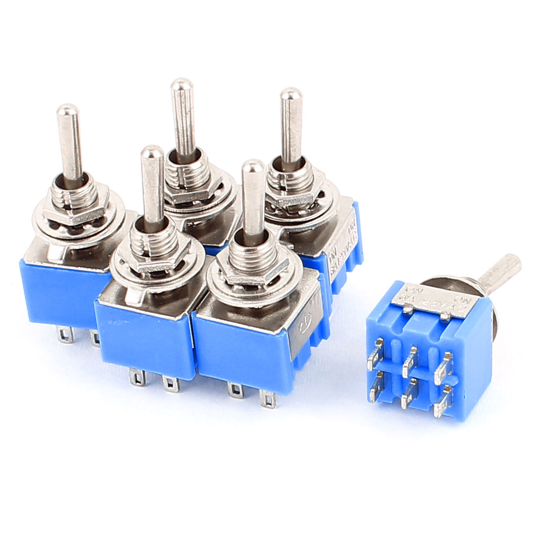 AC 125V 6A DPDT ON-ON 2 Positions 6-pin Latching Miniature Toggle Switch 6 Pcs