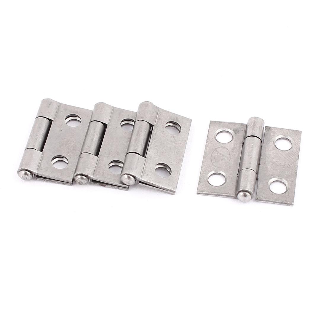 4 Pcs Gray Metal Rotatable Cabinet Door Butt Hinges 25mmx25mm