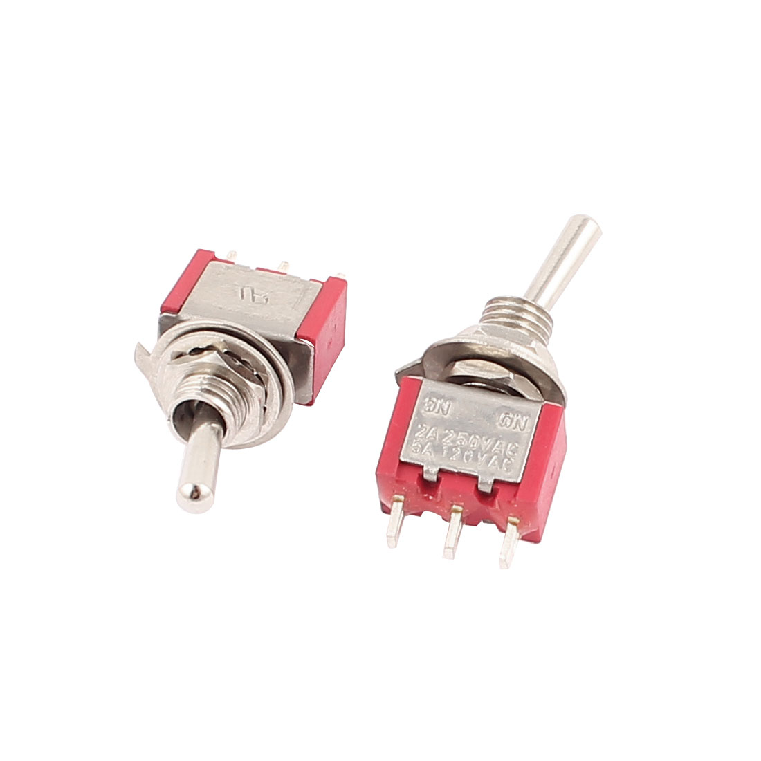 AC 250V/2A 120V/5A SPDT On/On 2 Position Miniature Toggle Switch 2Pcs